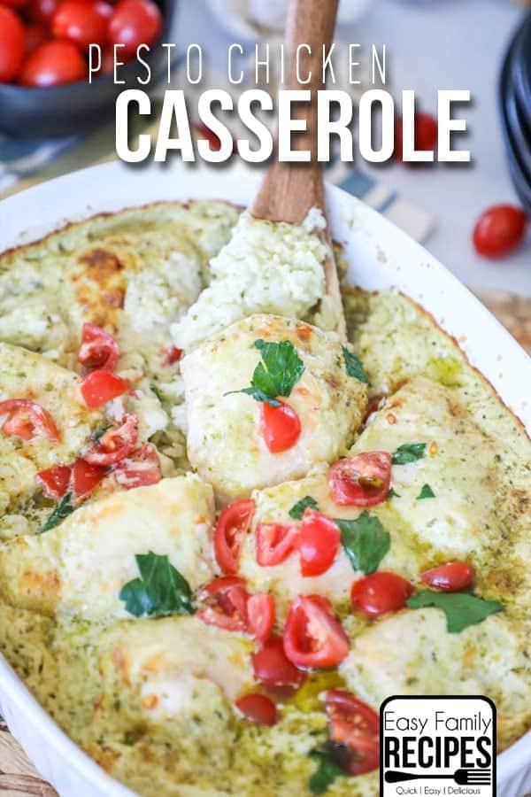 My FAVORITE Dinner- Creamy Pesto Chicken Casserole!
