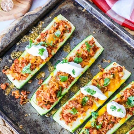 Taco Zucchini Boats Made on Sheet Pan