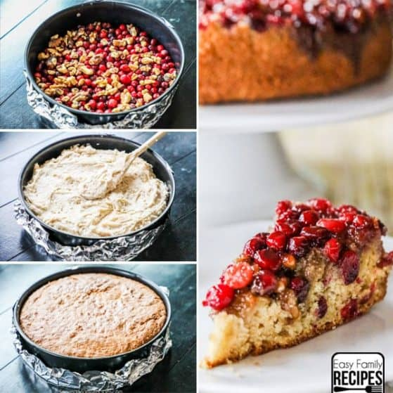 Step by Step photos of making cranberry cake in spring form pan