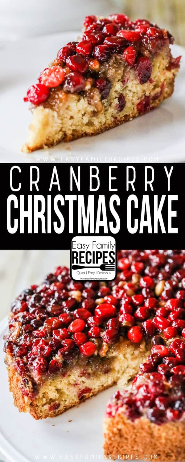 Cranberry Christmas Cake slice on plate