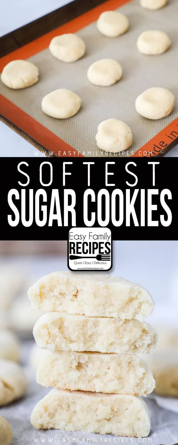 The Best Soft Sugar Cookies on a cookie sheet and baked and stacked up