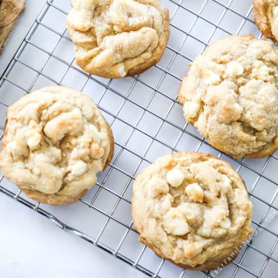 Chewy White Chocolate Macadamia Nut Cookies on Cooling rack