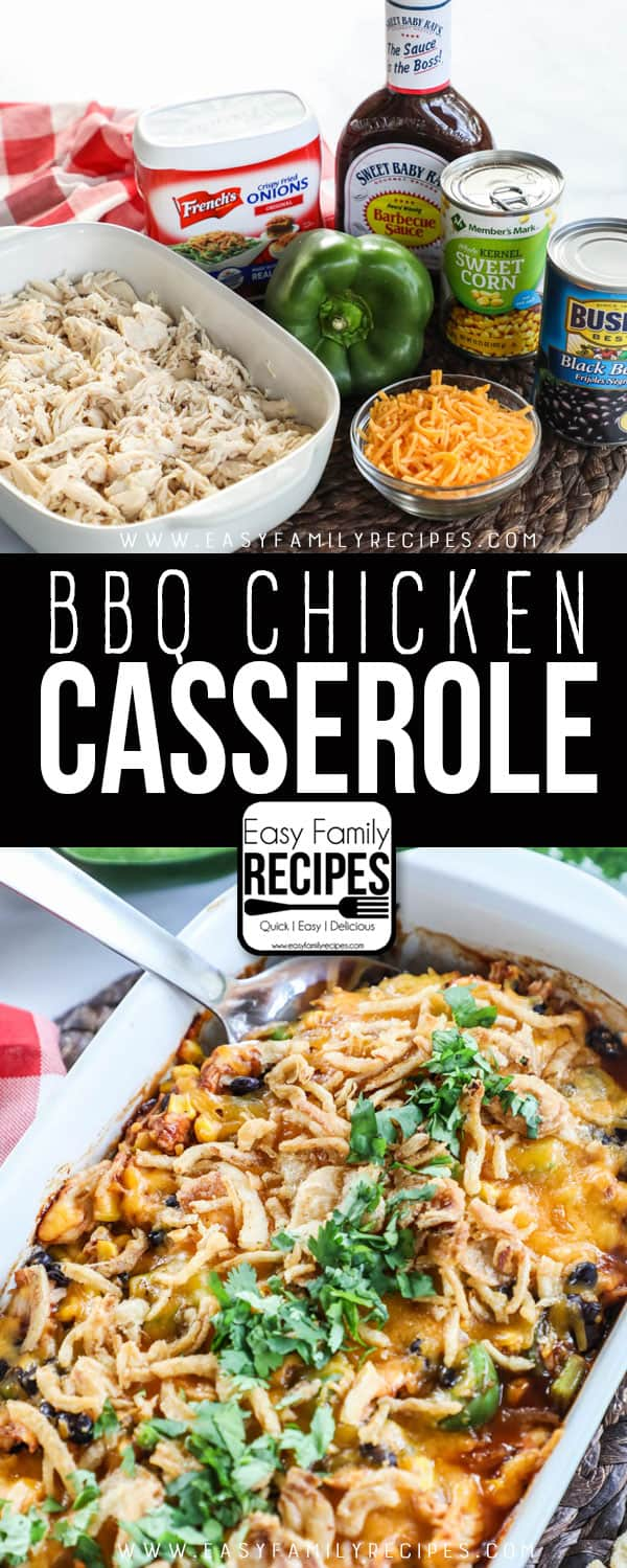 Shredded BBQ Chicken Casserole Ingredients- Shredded chicken, cheddar cheese, bell pepper, bbq sauce, corn, beans