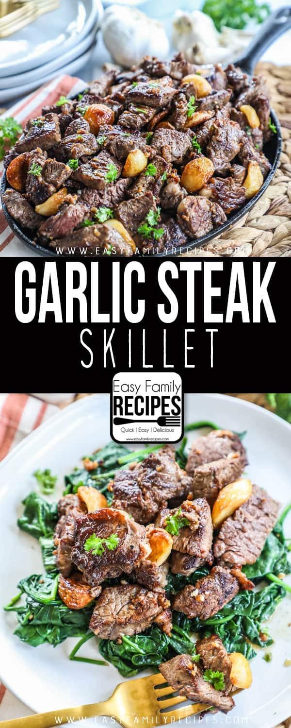 Garlic Steak served on a bed of spinach
