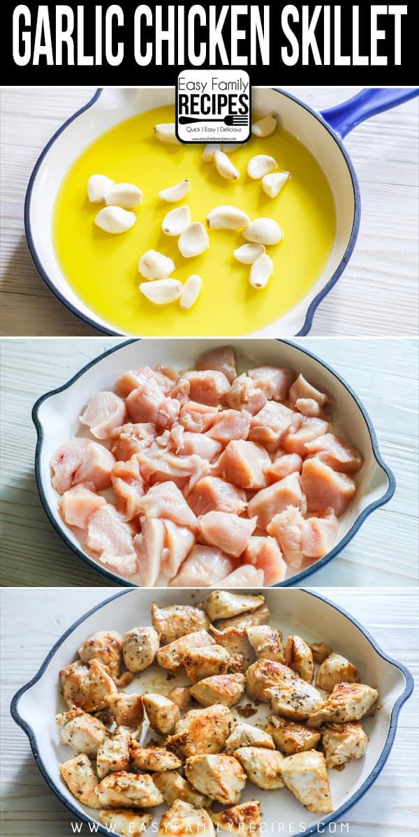 How to Make Garlic Chicken: Step 1- Sautee garlic in oil. Step 2- Saute chicken in skillet. Step 3: Combine garlic and chicken.