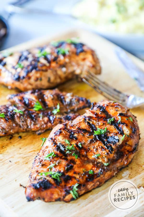 Juicy Balsamic Grilled Chicken straight off the grill
