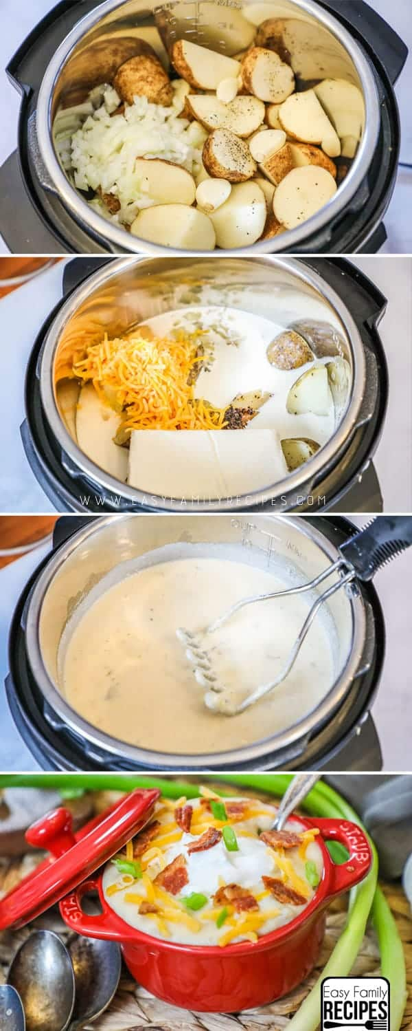 Steps on how to make pressure cooker loaded baked potato soup.