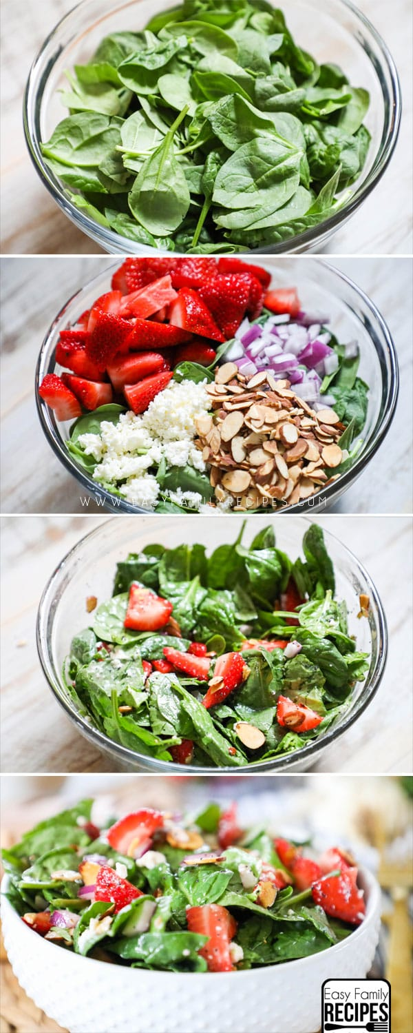 Steps to making Strawberry Spinach Salad.