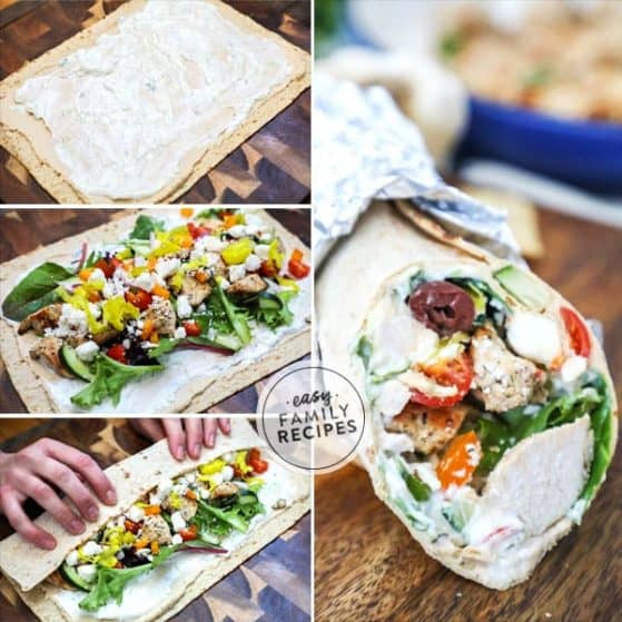 loaded greek chicken wraps are easy to make and loaded with flavors.