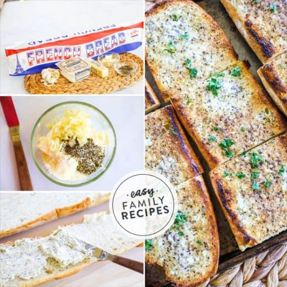 Garlic Bread Ingredients - Butter, garlic, italian herbs, cheese, bread