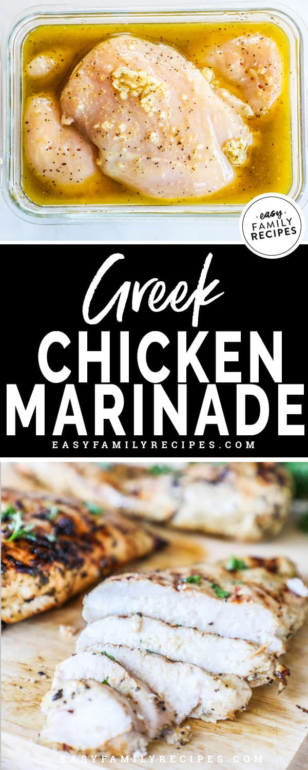 Chicken marinated in Greek Chicken Marinade, grilled and sliced on a board
