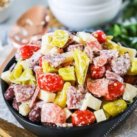 Recipe for charcuterie antipasto salad.