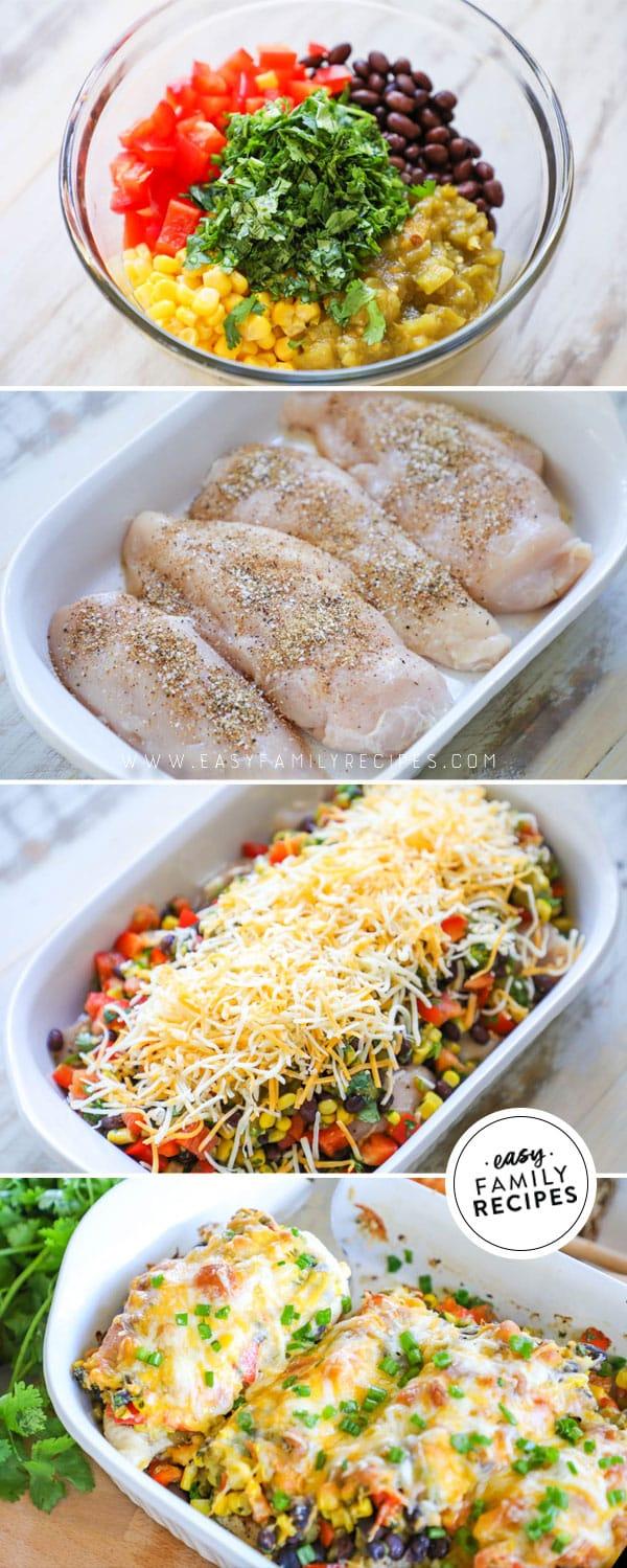 Steps for making easy one dish southwest chicken bake.
