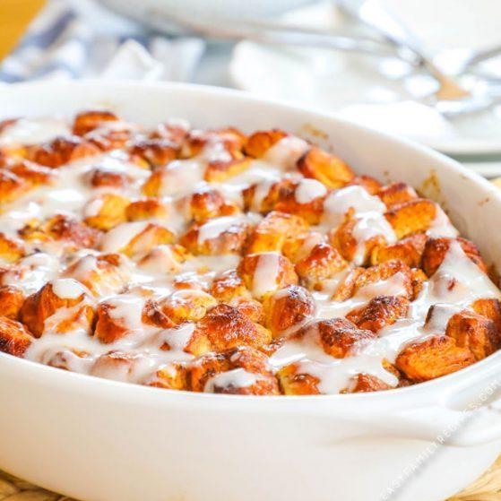 Cinnamon Roll Breakfast Casserole drizzled with glaze