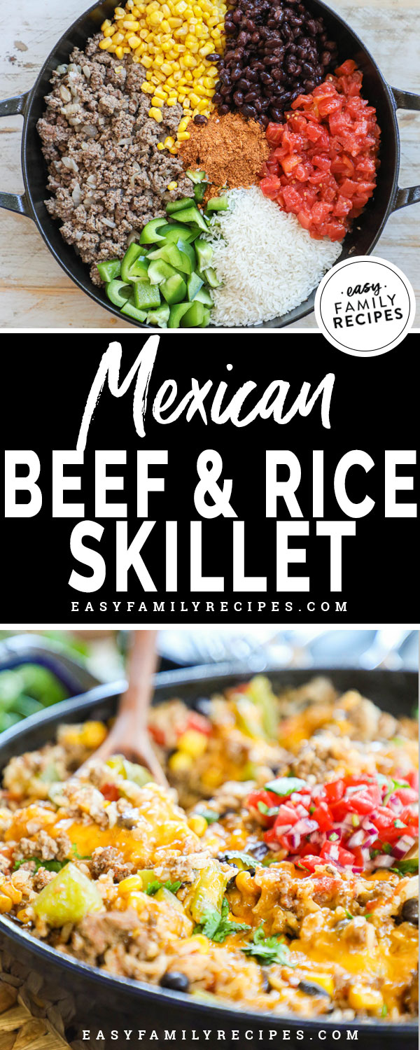 Mexican beef and rice ingredients in pan - ground beef, rice, tomatoes, bell pepper, black beans and corn