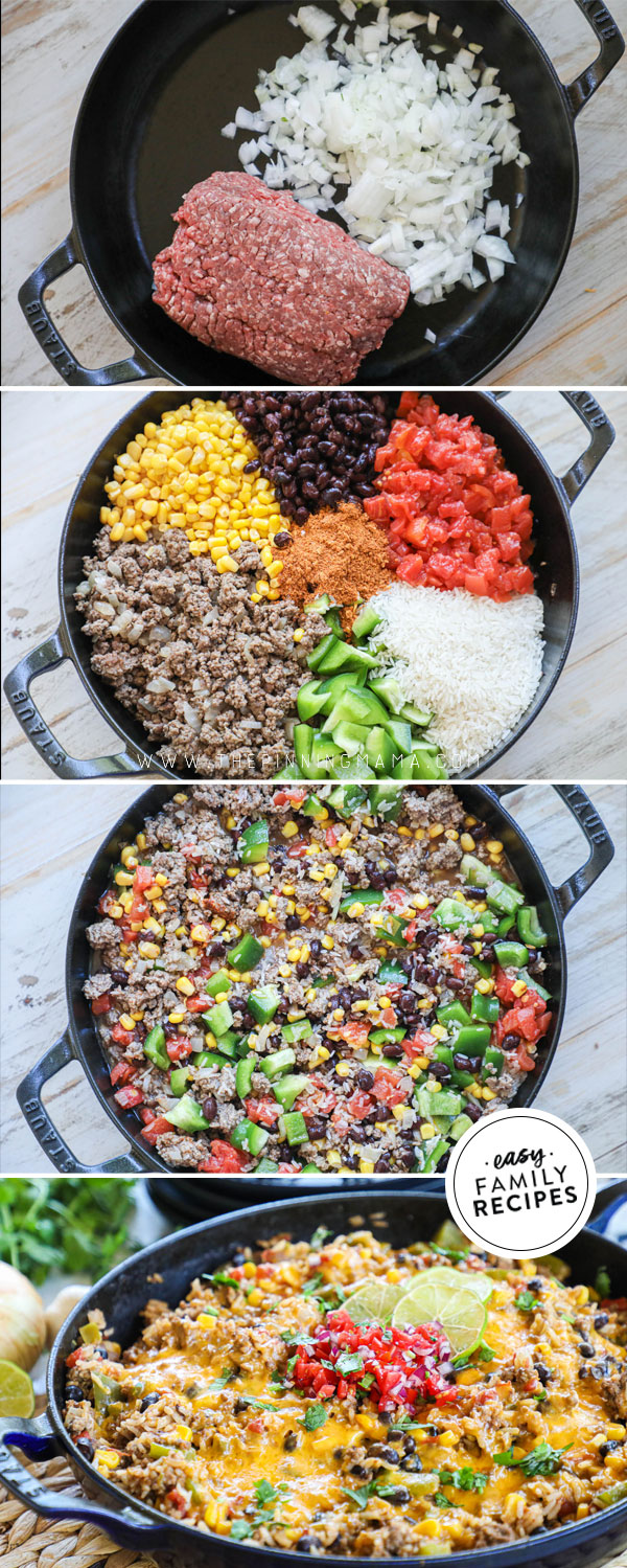Process photo collage for How to Make Mexican Ground beef and rice