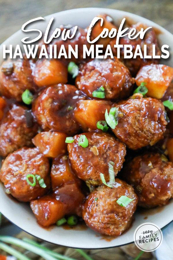 Hawaiian BBQ Meatballs in a bowl