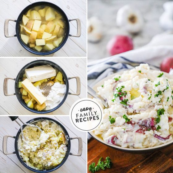 Mashed Potatoes in a pot with sour cream and cream cheese
