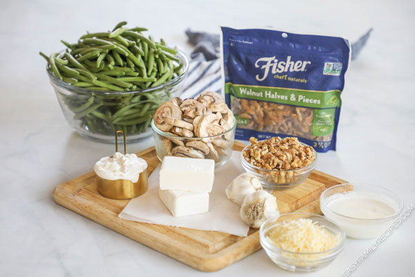 Ingredients for homemade gluten free green bean casserole