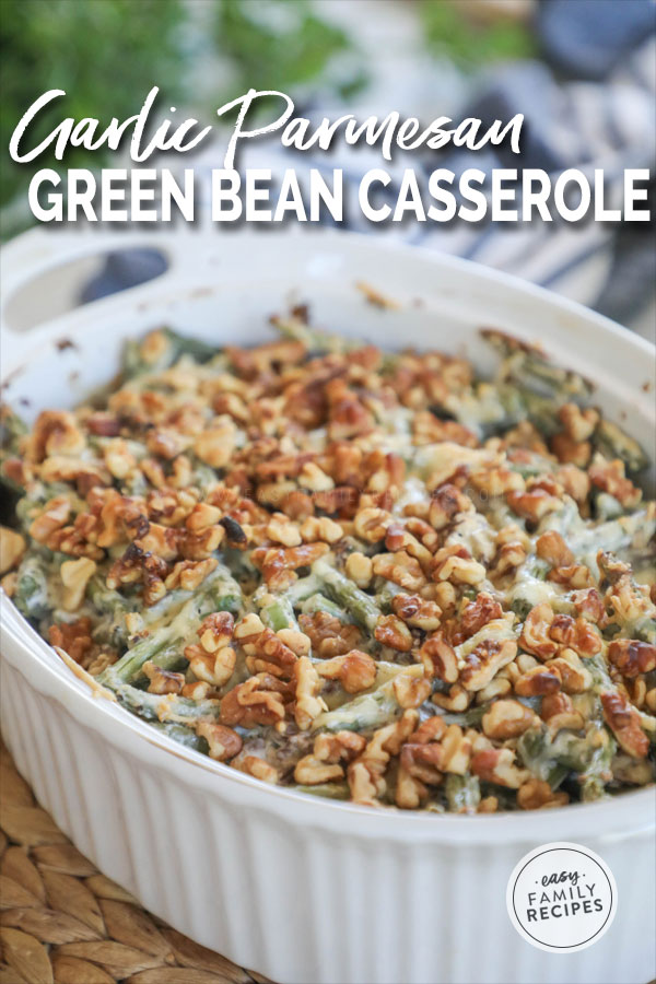 Homemade Green Bean Casserole in a casserole dish