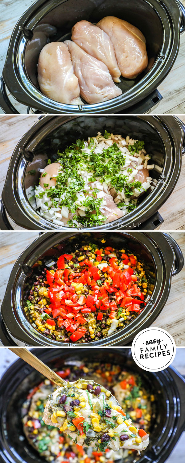 Process photos for how to make southwest chicken in a crockpot