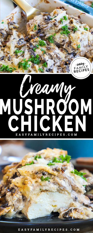 Mushroom Chicken breast cut in half to see the tender juicy meat inside