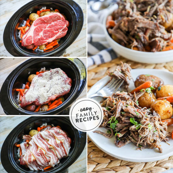 Steps for making slow cooker pot roast with potatoes