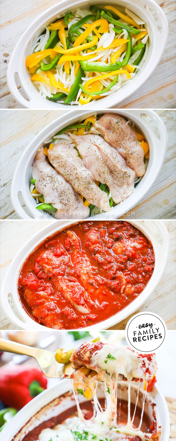 Process photos for how to make chicken and peppers