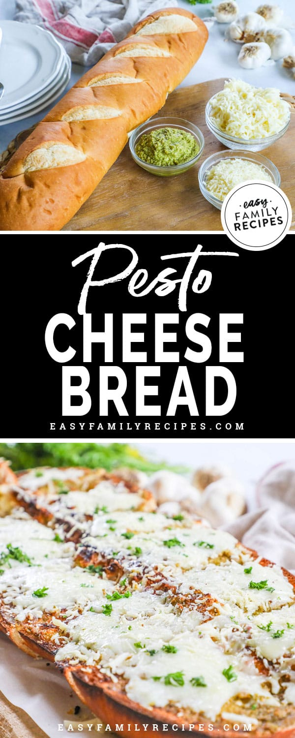 Quick and easy pesto cheesy bread.