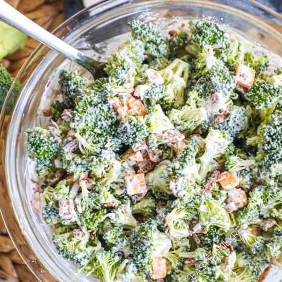 Bacon Ranch Broccoli Salad in a bowl