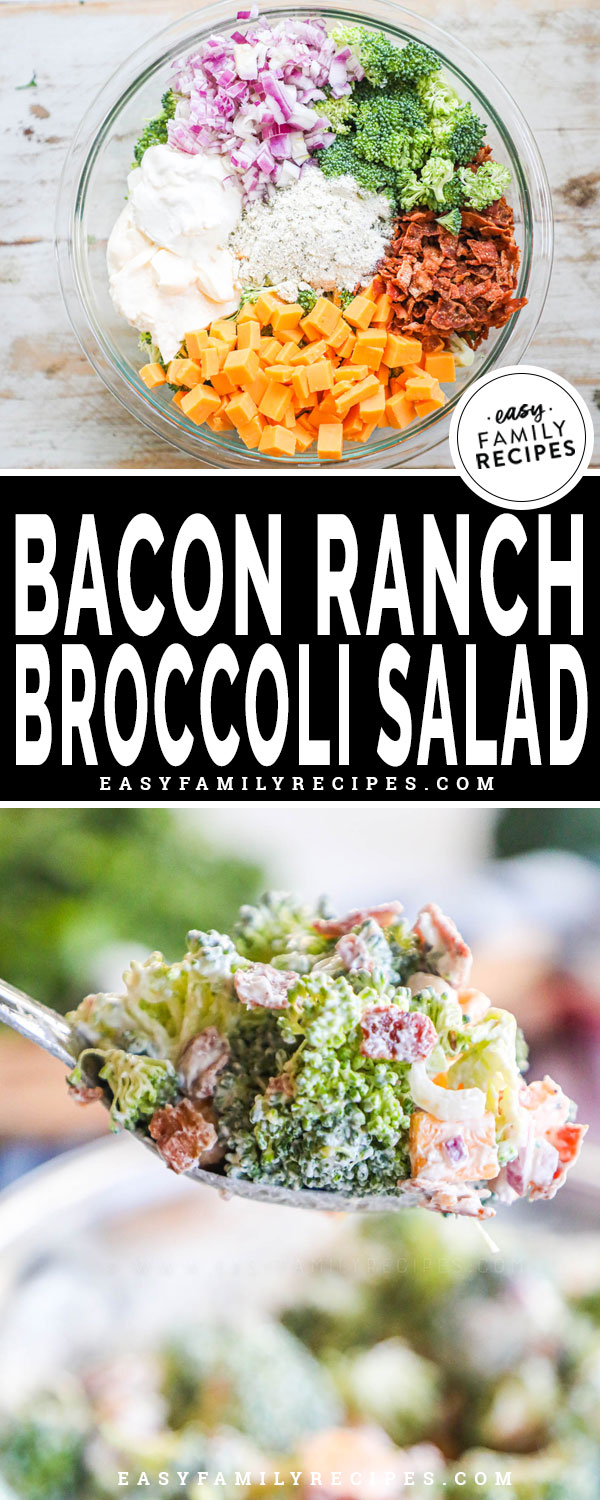 Bacon Ranch Broccoli Salad ingredients in a bowl ready to mix