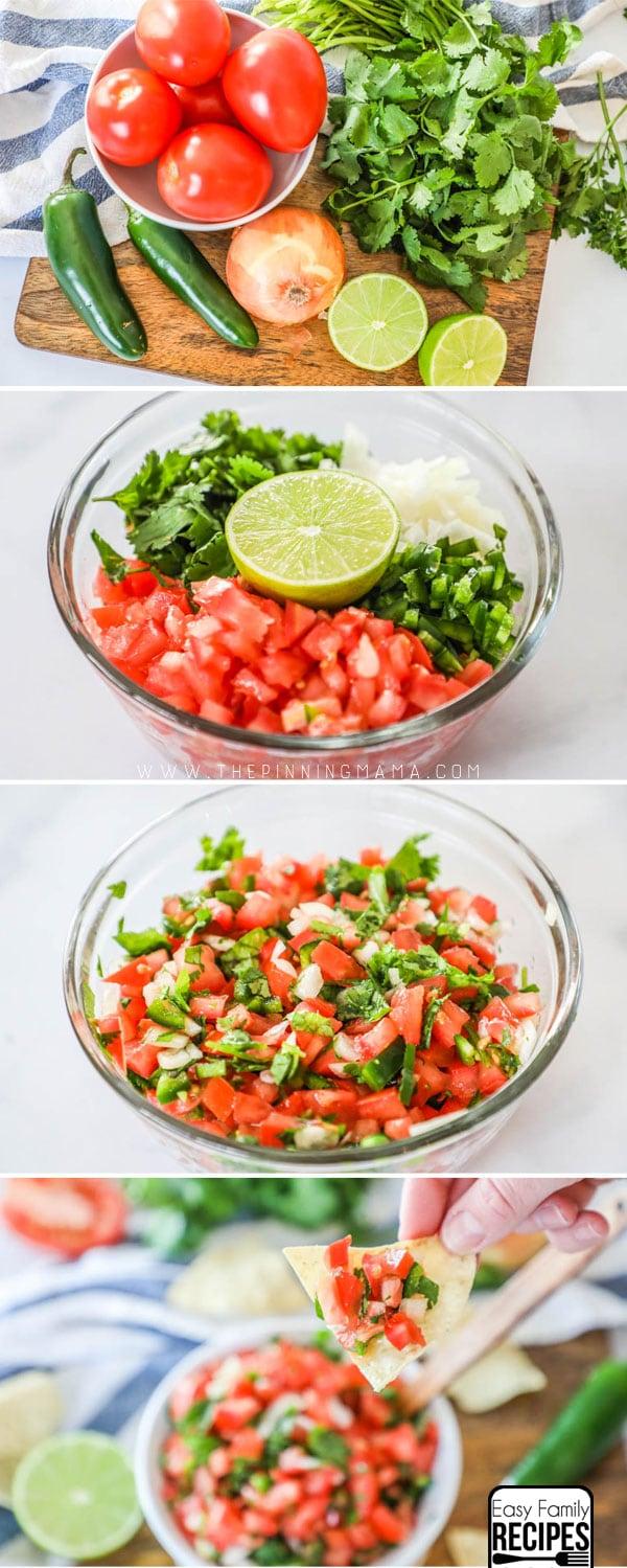 Process shots for how to make homemade pico de gallo