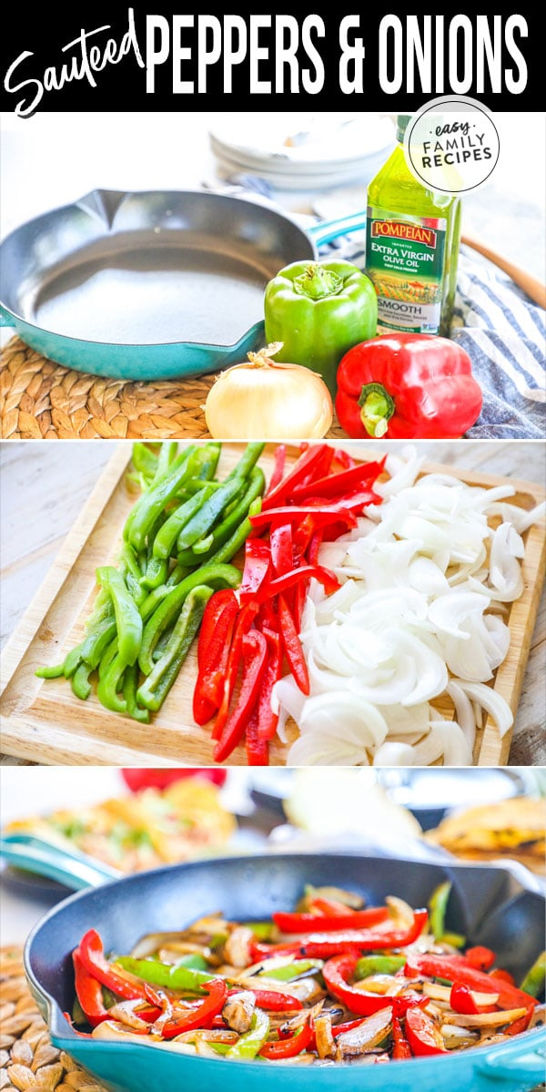 Process photos of how to make sautéed peppers and onions in a skillet