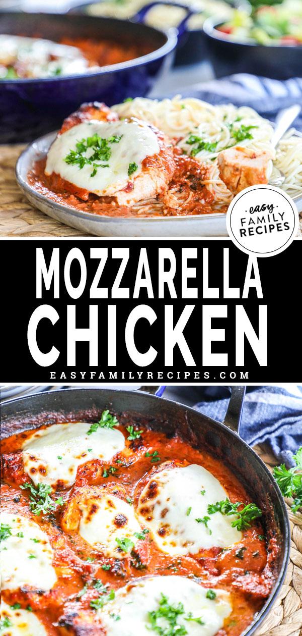 Mozzarella Chicken Breast on a plate with pasta