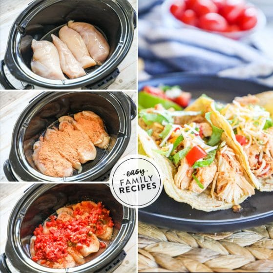 steps for making slow cooker shredded chicken tacos