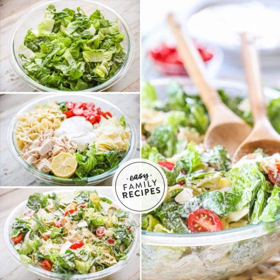 step by step photos for making chicken caesar pasta salad