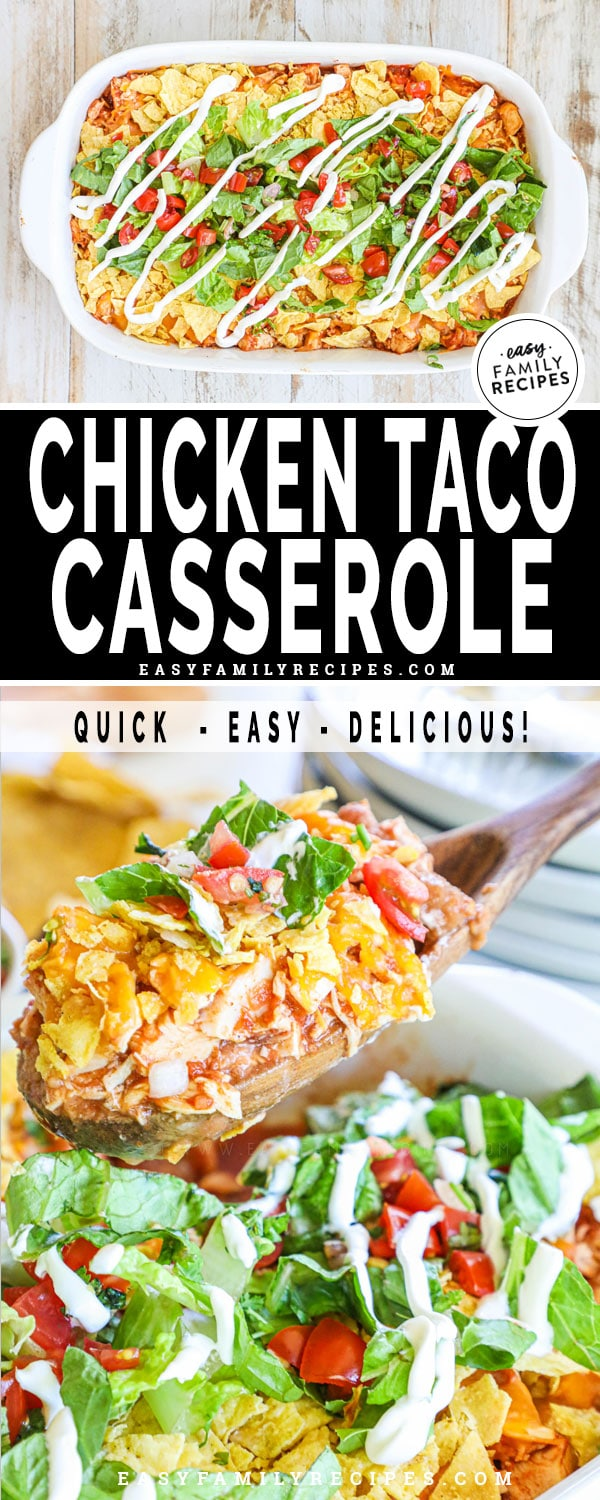 Finished casserole on top and a close up of the chicken taco casserole being scooped out on the bottom.