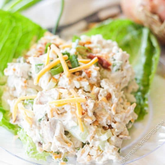 Low Carb Chicken salad served on lettuce