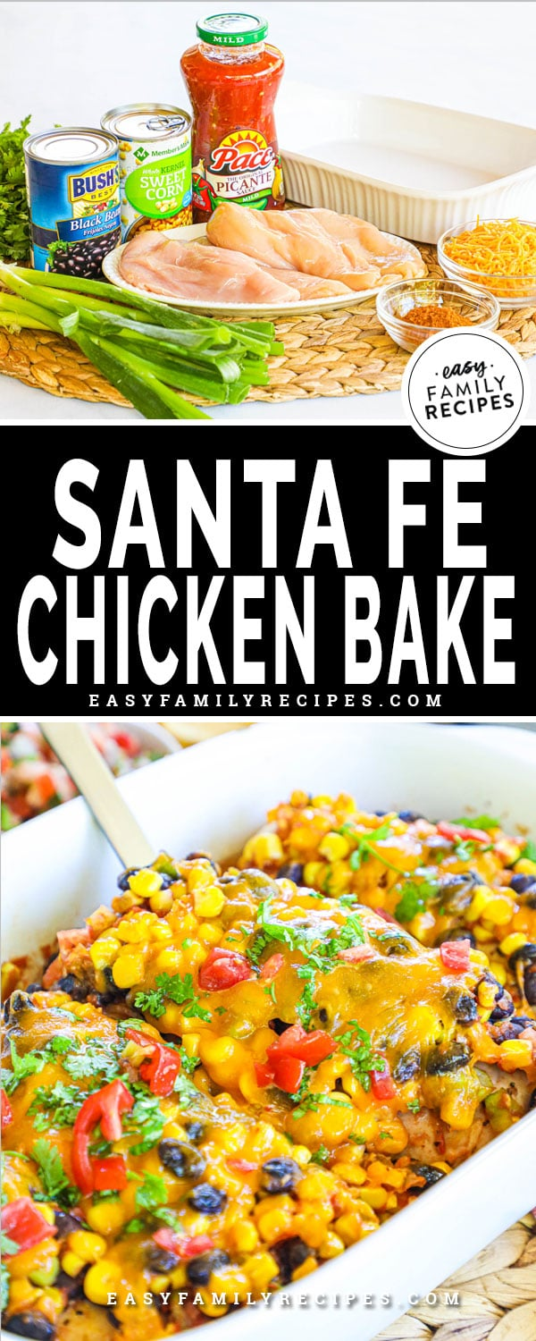 Ingredients for baked santa fe chicken including salsa, corn, black beans, peppers, green onion, cheese