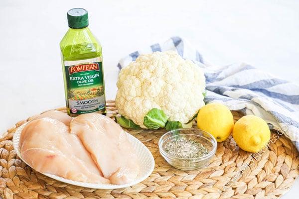 Ingredients for Greek Chicken and Cauliflower skillet