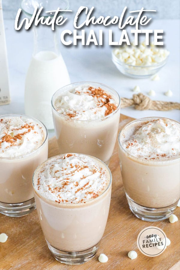 Hot Chai Tea Latte with white chocolate and topped with cinnamon