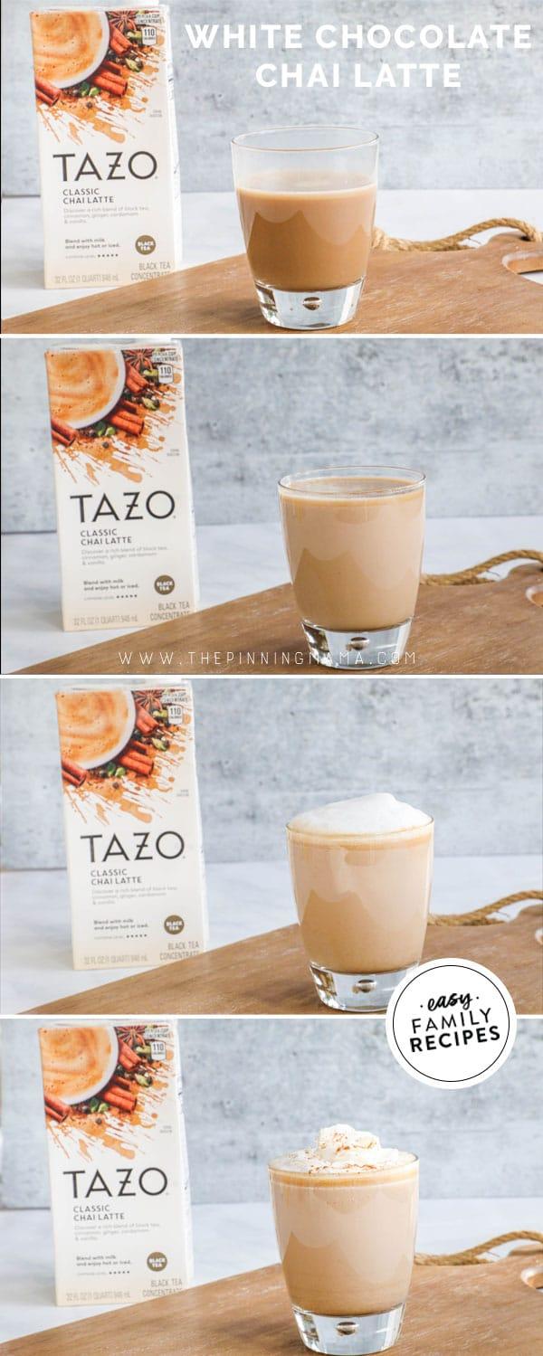 process photos for how to make chai tea latte