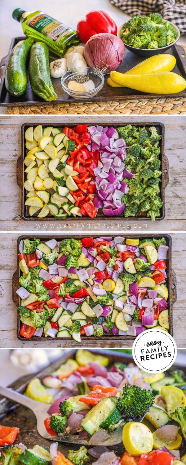 Process photos for oven roasted vegetables with garlic
