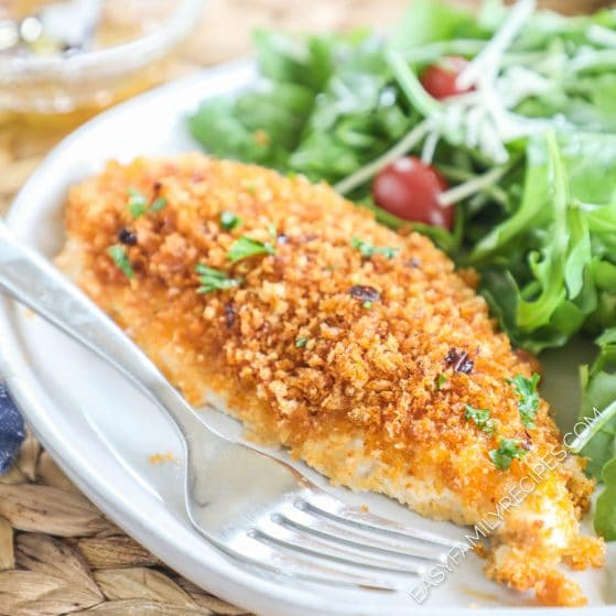 Panko Crusted Chicken served with salad on a plate