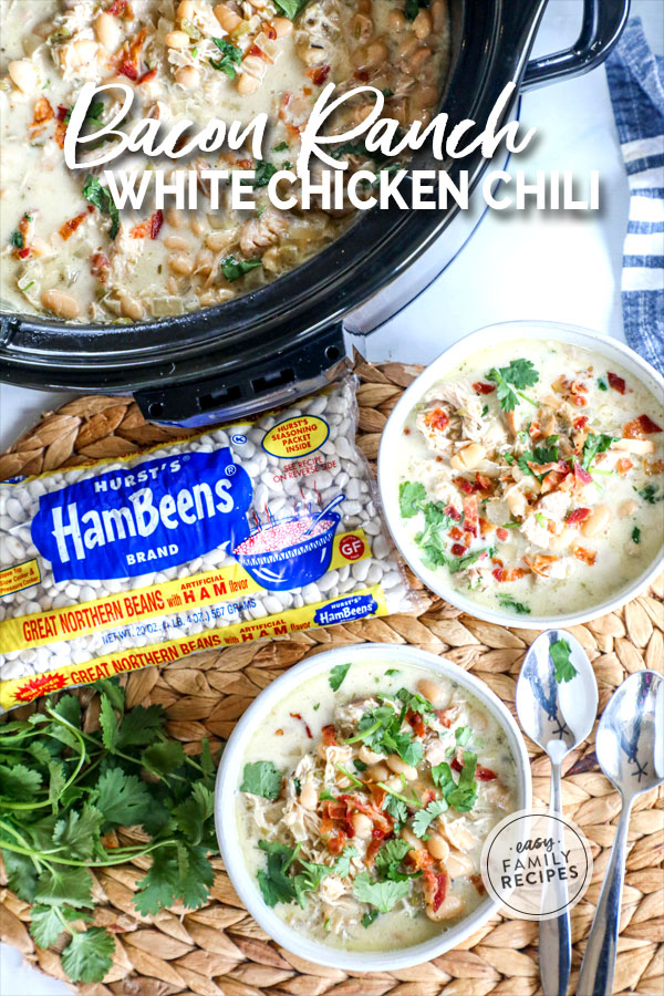 Crock pot with 2 bowls of Bacon Ranch White Chicken Chili