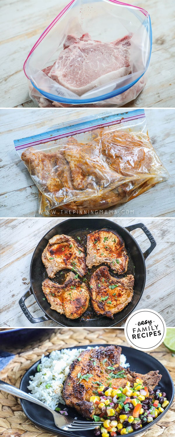 Process photos for how to make Bone In Pork Chops in cast iron skillet