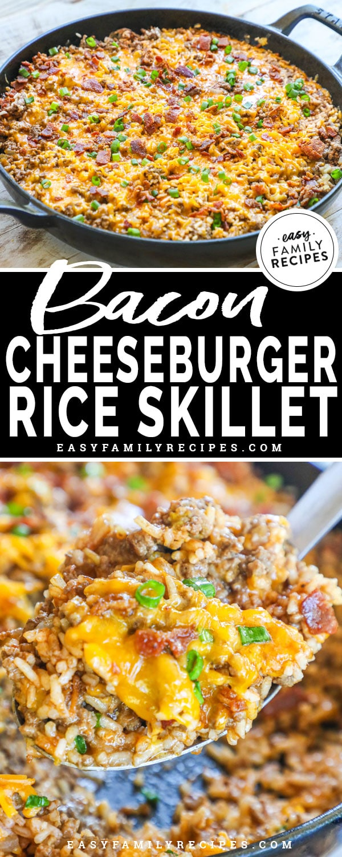 Close up of the bacon cheeseburger rice