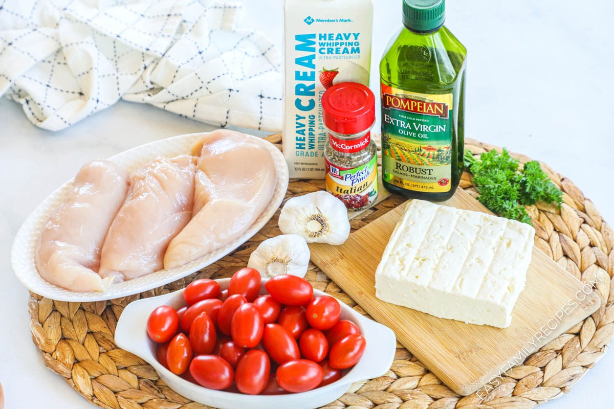 Ingredients for Baked Feta Chicken