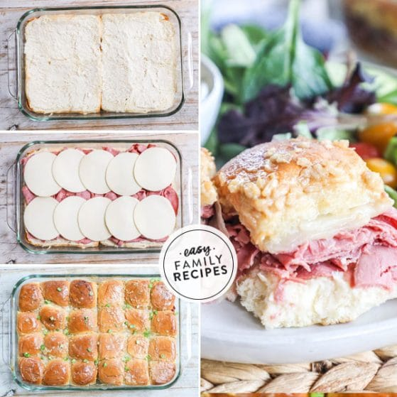 Step by step for making Roast Beef Sliders with deli meat 1. Spread rolls with horseradish mayo, 2. Layer roast beef deli meat and cheese, 3. Top with rolls and melted butter mixture
