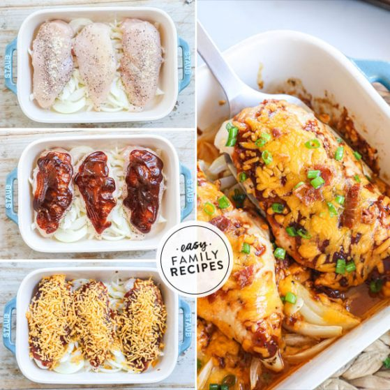 Step by step for making Cheesy Bacon BBQ Chicken - 1. Place seasoned chicken breast on top of sliced onions 2. Top with BBQ sauce 3. Top with cheese. 4. Add crispy crumbled bacon and green onions